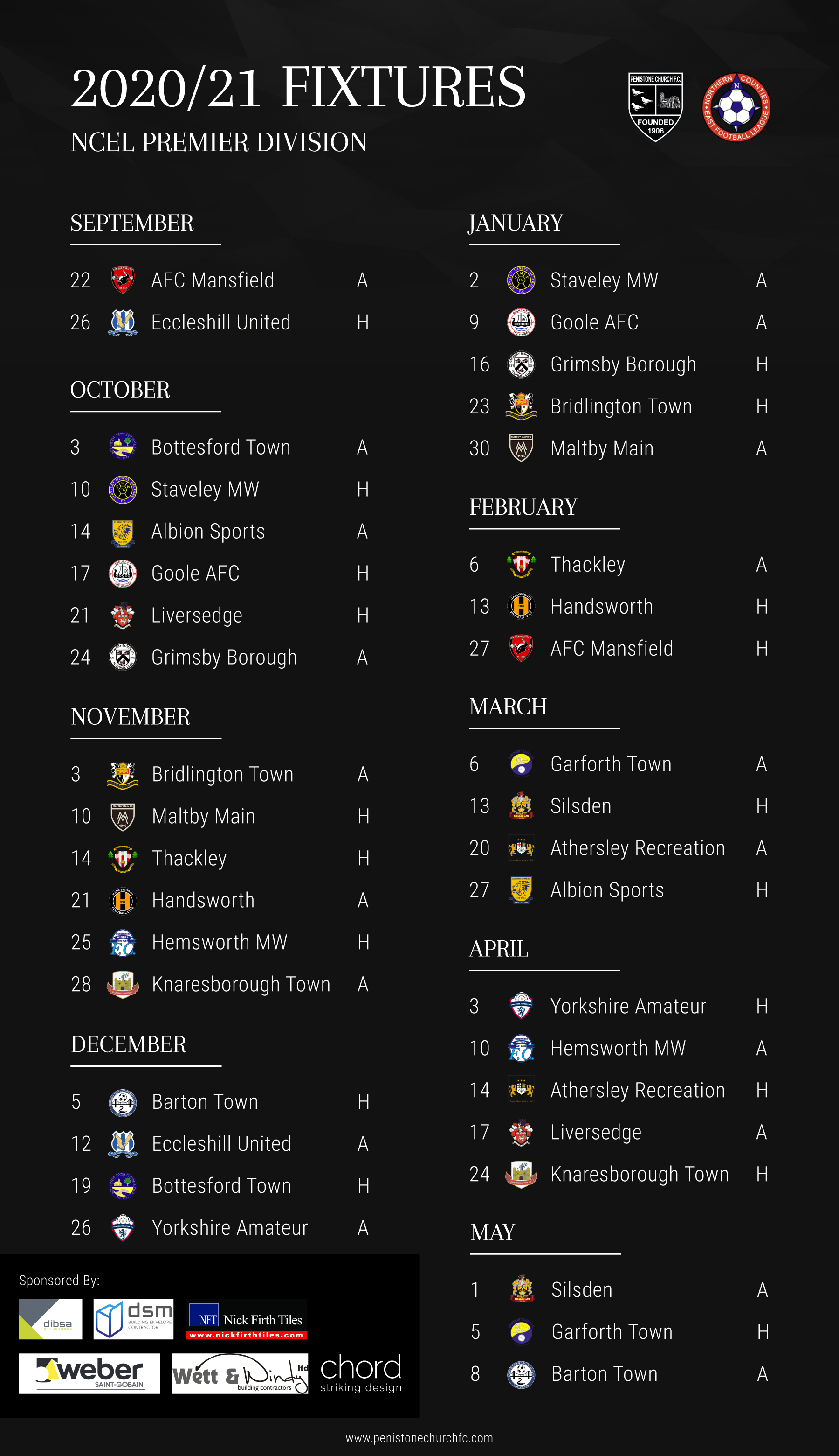 2020/21 Fixture List
